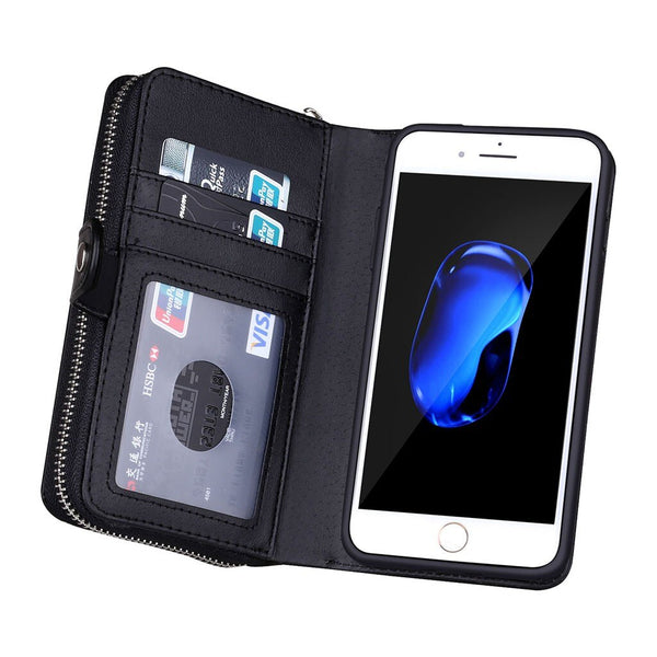 Zipper Leather Cover Multi-function Mobile Phone