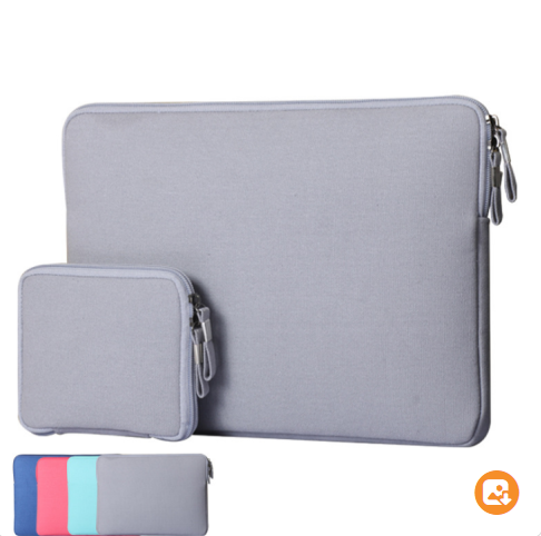 Canvas Notebook Laptop Sleeve Case with Small Bag For Mouse