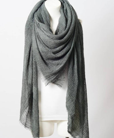 Perfect Square Gray Blanket Scarf