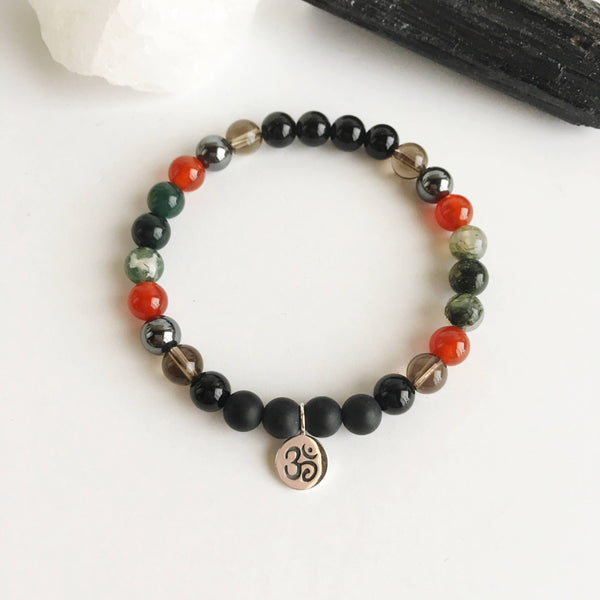 Black Onyx, smoky Quartz, Carnelian, and Moss Agate Sterling Silver