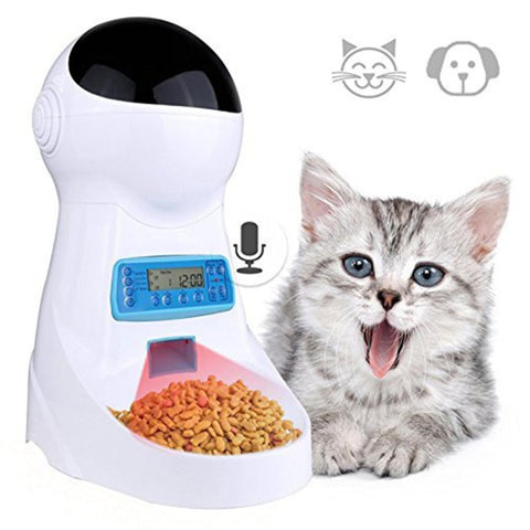 3L Automatic Pet Food Feeder With Voice Recording / LCD Screen Bowl For Medium Small Dog Cat Dispensers 4 times