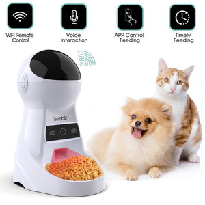 Iseebiz Wifi Automatic Cat Feeder 3L Pet Food Dispenser Feeder Medium and Large Cat Dog 4 Meal Voice Recorder and Timer