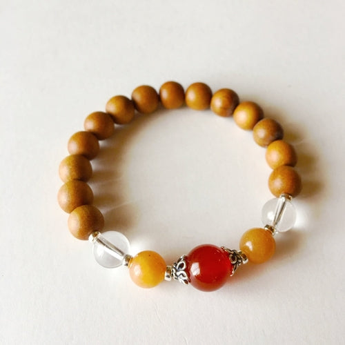 Sandalwood, Carnelian, Red Aventurine & Crystal Quartz Sterling Silver