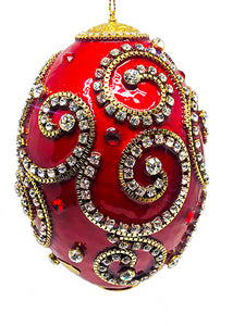 Red Swirls Rhea Ornament