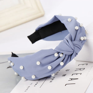 Pearl Headbands Solid Bow Knot