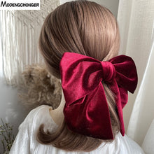 Load image into Gallery viewer, Velvet Hair Bow Hair Tie