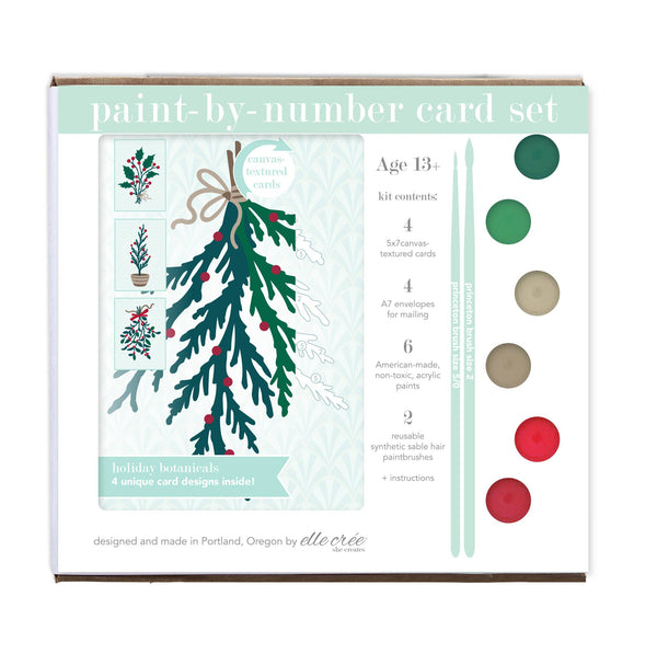 Paint-by-Number Card Sets - Holiday Botanicals