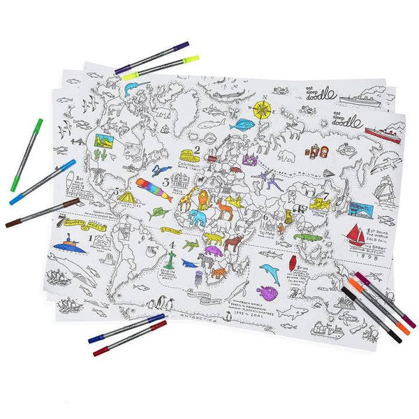 World Map Wrapping Paper Activity Kit