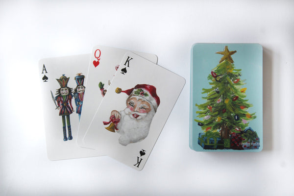 Hand-Painted Christmas Playing Cards