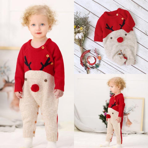 BABY BOYS CHRISTMAS KNITTED WOOL BLEND JUMPSUITS 3-18M