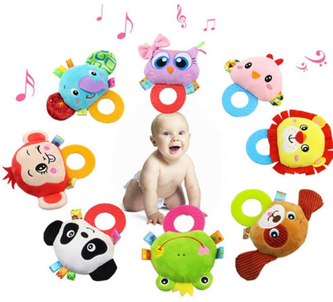 Baby Hand Rattles With Silicone Teether