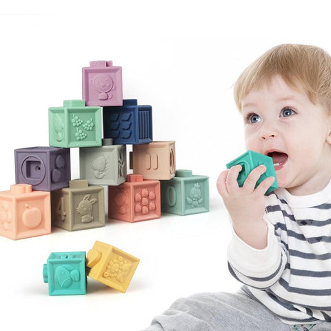 SOFT BUILDING BLOCKS RUBBER TEETHERS FOR BABY 2-4Y