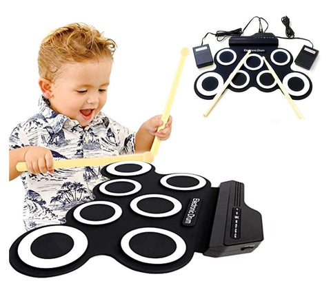 Children Roll Up 7 Silicone Pad Digital Electronic Portable Drum