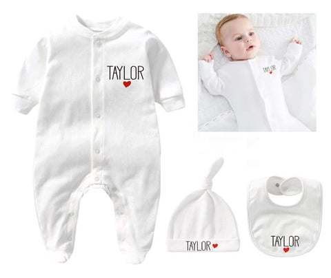 Personalized Newborn Outfit With Hat + Bib Clothes Set