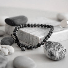 Load image into Gallery viewer, 33 Bead Tasbih Bracelet - Grey Black Agate Stone
