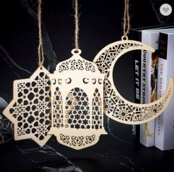 This 3pc wooden hanging décor is so versatile it makes for a perfect addition to your Ramadan décor. Comes in 3 designs: Crescent Moon, Star Anise and Lantern with intricate woodwork.