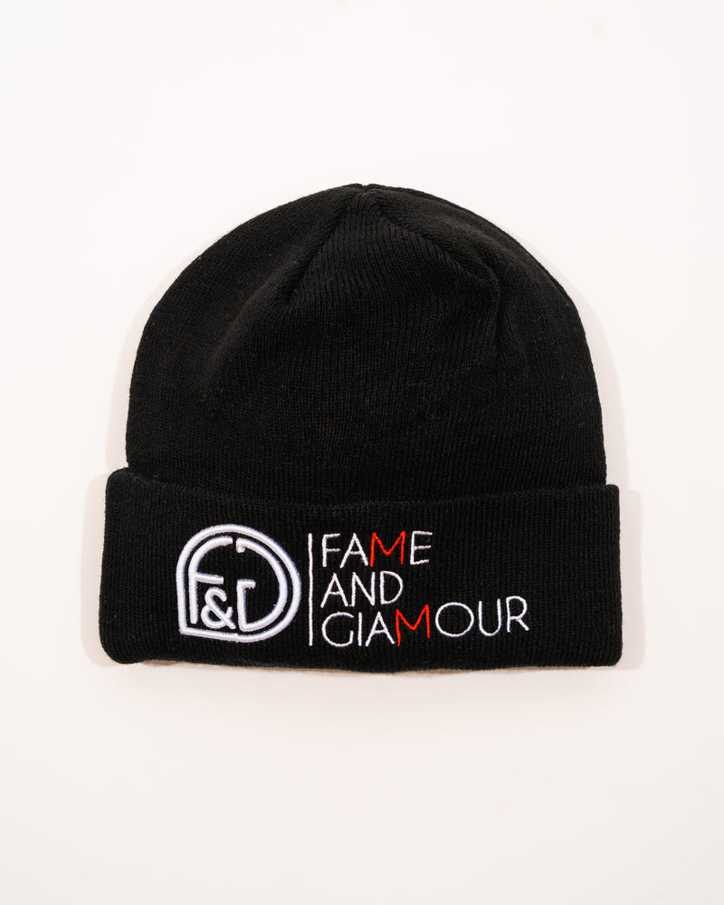 "Fame and glamour ""blk & red"" beanie"