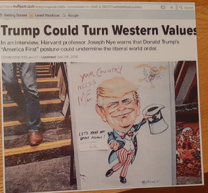 "2016: ""TRUMP COULD TURN WESTERN VALUES"". Huffington Post 12th August, 2016."