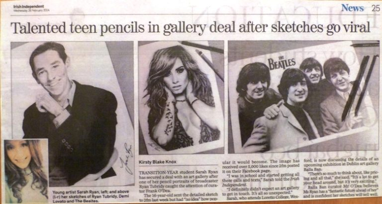 Talented teen pencils in gallery deal after sketches go viral