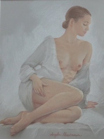 "Angela Maximova ""Seated Nude with White Blouse"""