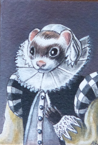 "Minature - Alexandra Kaplan ""Ferret based on a Dutch Portrait"""