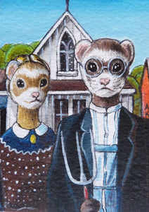 "Minature -  Alexandra Kaplan ""American Gothic - by Grant Wood 1930"""