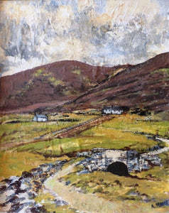 "Annie Moore ""Countryside Scene with hills and stone bridge, Ireland"""