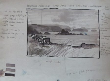 "John Skelton ""Coastal Scene Study"" with handwritten notes"