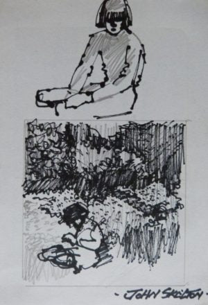 "John Skelton ""Study of Children in Garden"""