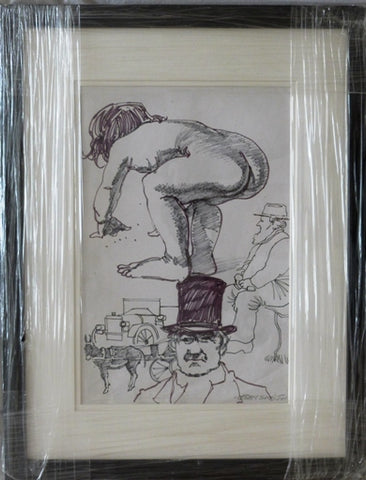 "John Skelton ""Figurative Sketches (bather, gentlemen in high hats)"""