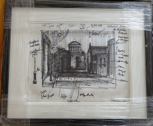 "John Skelton ""Dublin Street Scene"" study sketch and hand written notes"