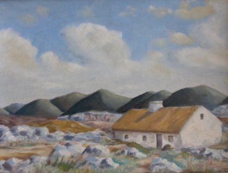 "Leslie Allen ""Connemara Thatched Cottage and Mountains"""