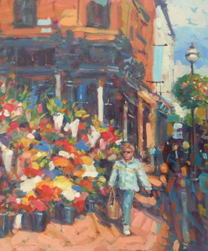 "Norman Teeling ""In full bloom, Flower Sellers, Grafton Street, Dublin"""