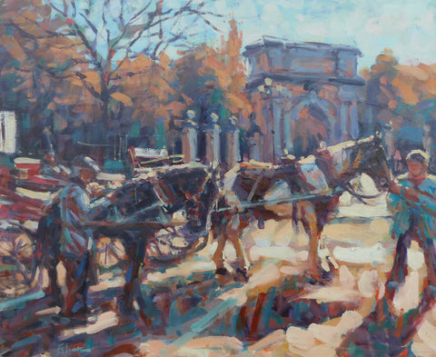 "Norman Teeling ""Horse & Carriages at St Stephens Green Dublin"""