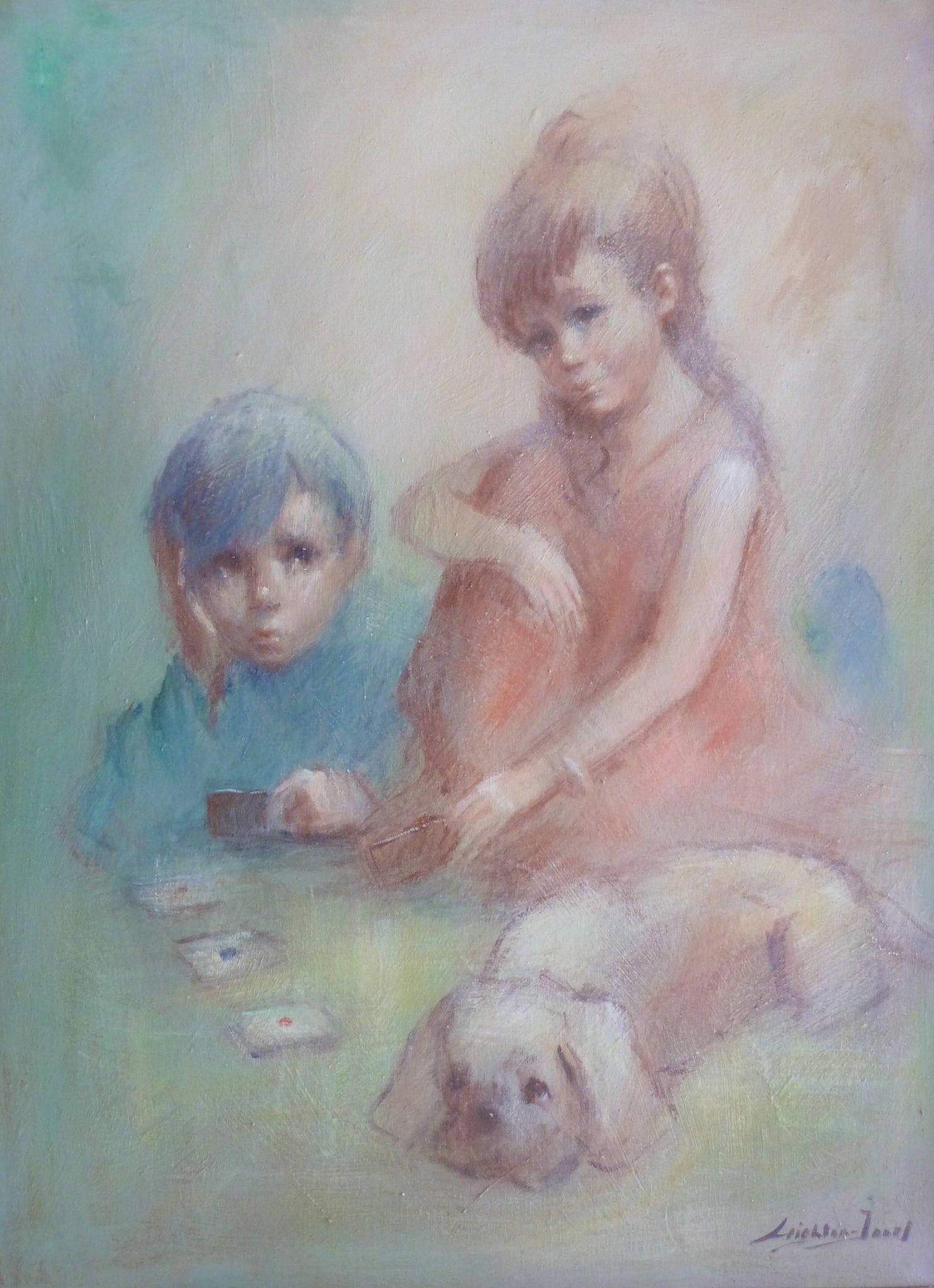 "Barry Leighton Jones ""Children playing cards"""