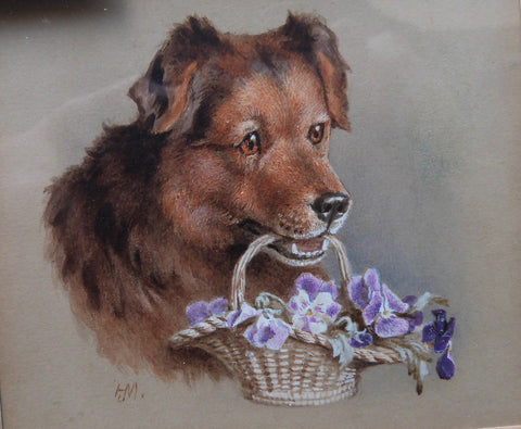 "Helena J Maguire ""Brown Puppy holding basket of flowers in mouth"""