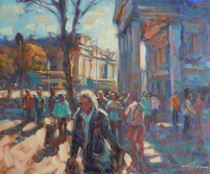 "Norman Teeling ""Shoppers on Westmoreland Street, Dublin (with Bank of Ireland and Trinity College)"