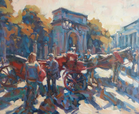 "Norman Teeling ""Horse and Carriages beside St Stephens Green Main Arch, Dublin"""