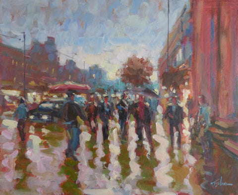 "Norman Teeling ""Sun shower by the G.P.O, O'Connell Street, Dublin"""