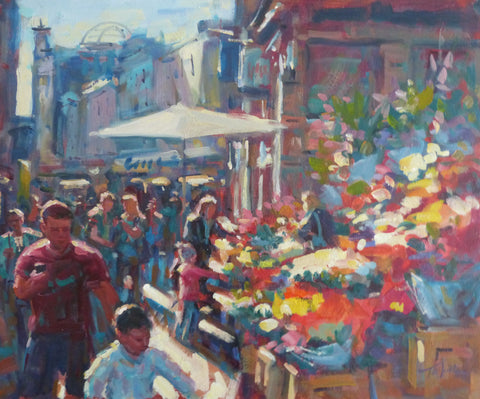 "Norman Teeling ""Sunshine Day at the Flower Sellers, Grafton Street"""