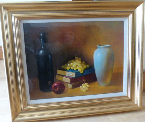 "Peter Dee ""Still Life with bottle, Vase, books and fruit"""