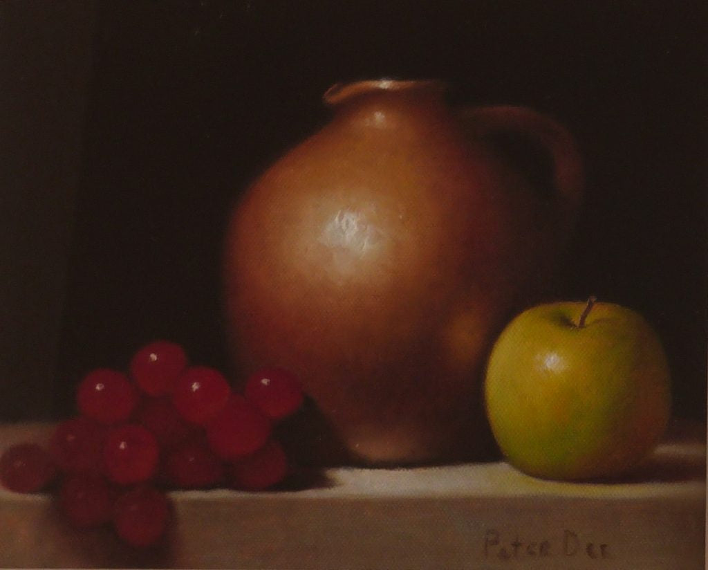 "Peter Dee ""Pottery Jug and Fruit"""