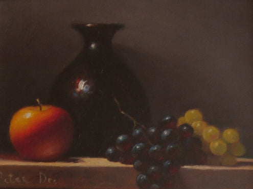 "Peter Dee ""Still Life with Vase and Fruit"""