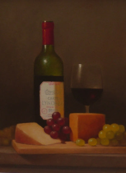"Peter Dee ""Still Life with Wine bottle. cheese and grapes"""
