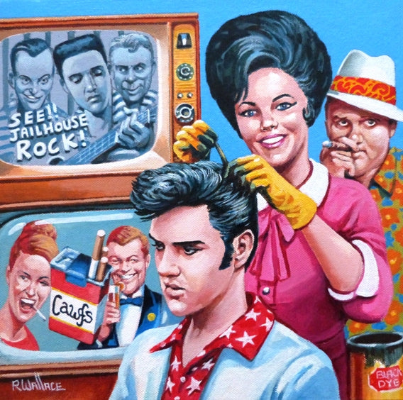 "Roy Wallace ""Elvis having his hair dyed by his current girlfriend Lindi Hopper. Col. Parker in background 1957"" (2007)"""
