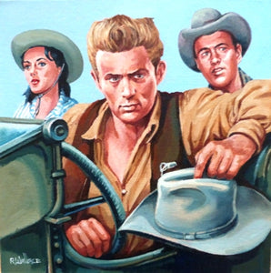 "Roy Wallace ""James Dean as Jett Rink in 'Giant' released in 1956 with Elizabeth Taylor and Rock Hudson"""