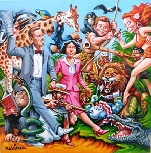 "Roy Wallace ""James and Nora Joyce on holiday in Moo Loo Jungle Bar National Park with guide fields. McHugh happen upon the king and queen of the jungle Tad and Babs Midthunder"" (2010)"