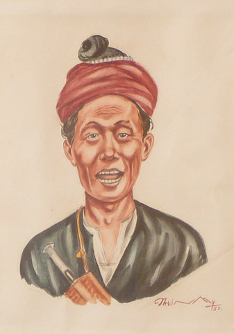"Thein Han ""Burmese man wearing a Gaung Baung (traditional Burmese kerchief )"""