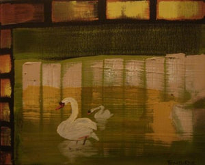 "Tom Byrne ""Swans on a Lake, Wicklow"""
