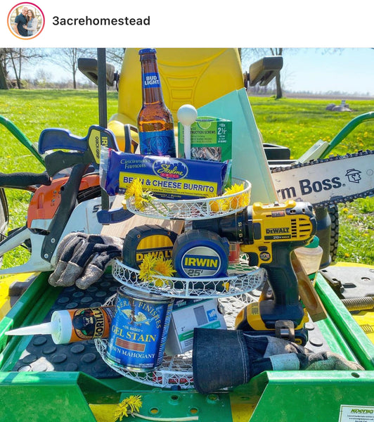 3 acre homestead family farm partner tray challenge entry with DIY assembled tiered tray made from tools, beer, burrito and lawn tractor